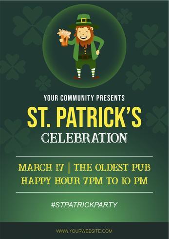 St. Patrick Holiday Party Poster und Flyer Einladung vektor