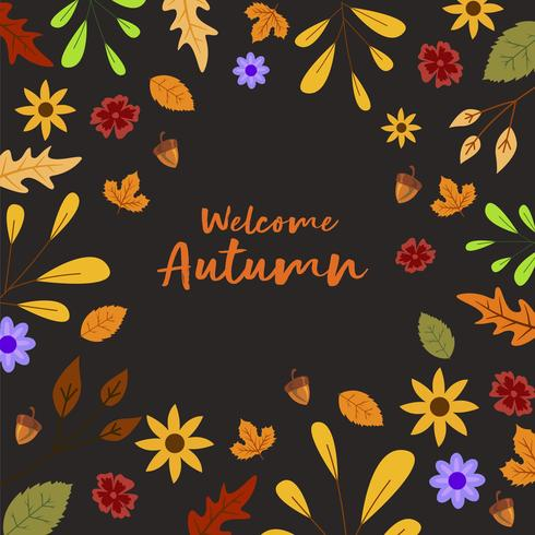 Autumn Leafs And Nuts Background Für Herbst vektor