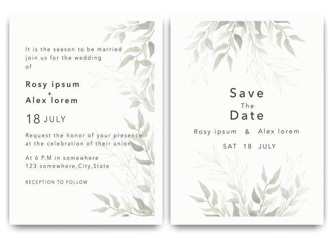 Hochzeits-Einladungen retten den Datumskartenentwurf mit eleganter Gartenanemone. vektor