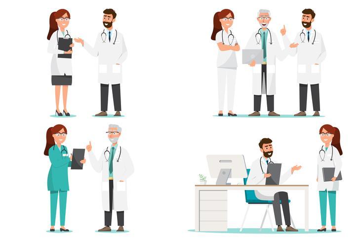 Satz Zeichentrickfilm-Figuren des medizinischen Personals vektor