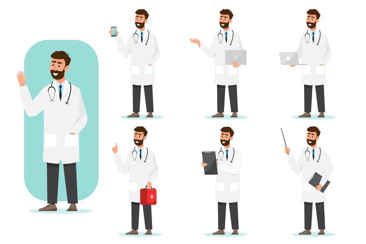 Satz von Arzt Comic-Figuren vektor