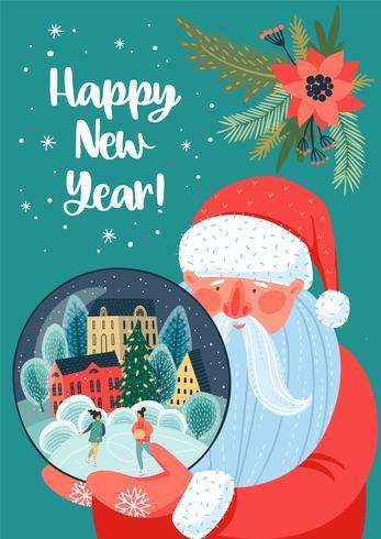Jul och gott nytt år kort vektor
