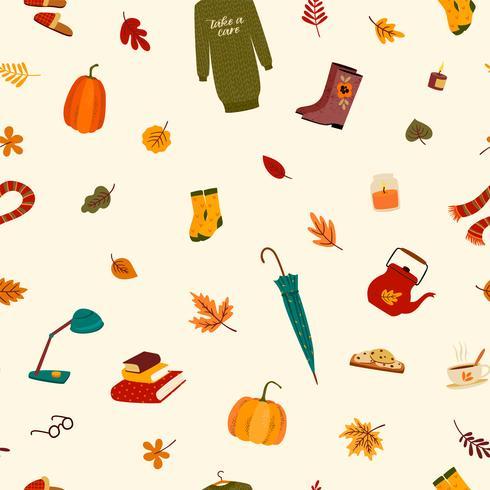 Nahtloses Muster mit netten Sachen und Herbstlaub. vektor