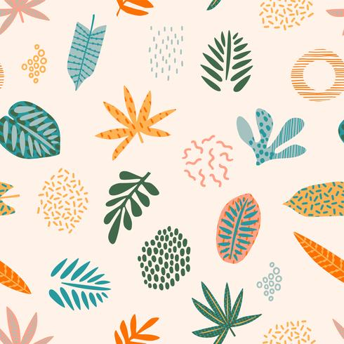 Abstrakta sömlösa mönster med tropiska blad vektor