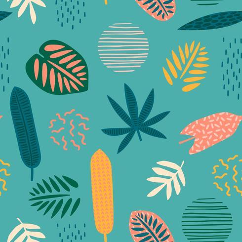 Abstraktes nahtloses Muster mit tropischen Blättern vektor