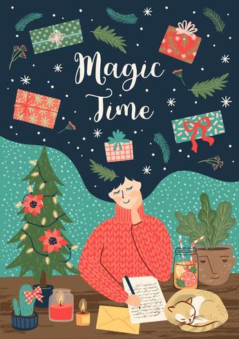 Jul och magiskt tidskort för gott nytt år vektor