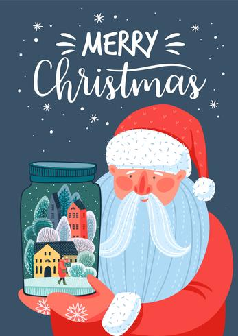 Jul och gott nytt årskort med jultomten vektor