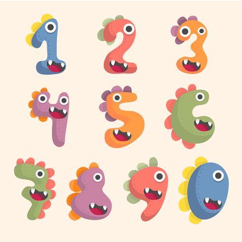 süße Dinosaurier Nummer Schriftsatz vektor
