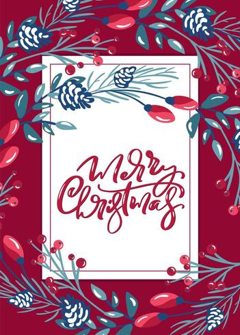 Kalligraphische Beschriftungshand der frohen Weihnachten geschriebener Vektor
