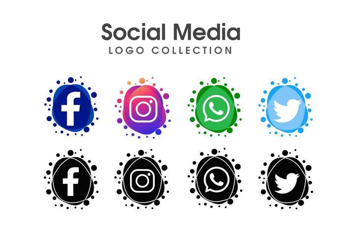 Uppsättning av sociala medier logotyp mall vektor