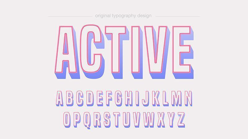 Färgglad lekfull fet fet konturtypografi vektor