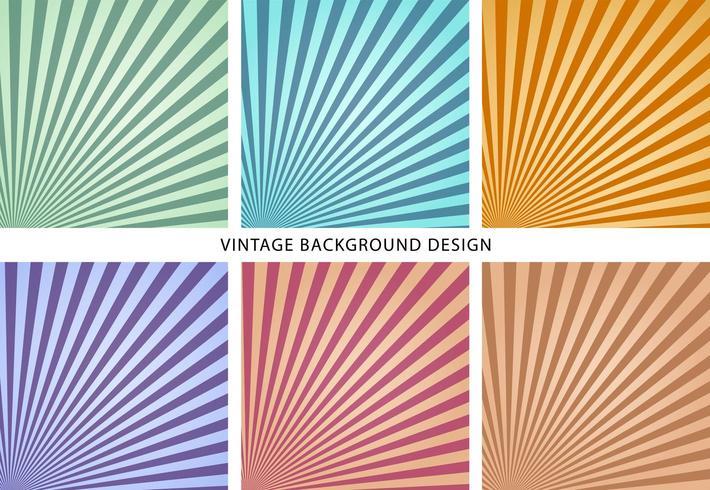 vintage sun burst bakgrund uppsättning mall vektor