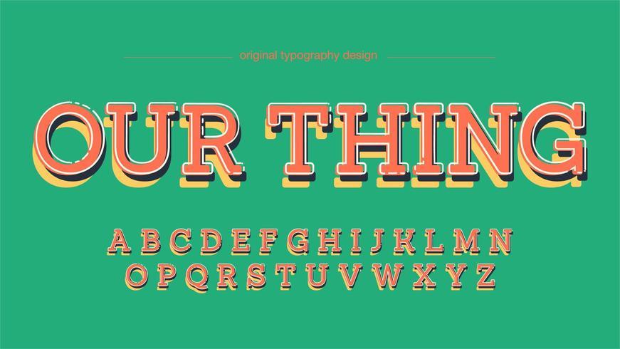 Bunte Spaß-Platten-Serifen-Typografie vektor