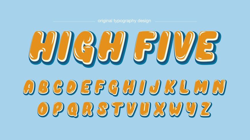 Retro orange bubblatecknad bokstäver vektor