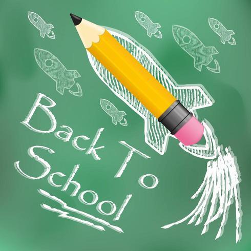 Tillbaka till skolmeddelandet på svarta tavlan vektor