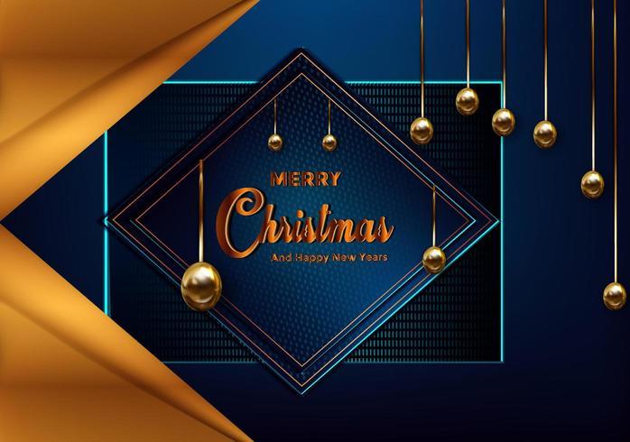 Weihnachtsblauer Hintergrund mit der Grenze, die von der Ausschnittgoldfolie gemacht wird, spielt die Hauptrolle vektor