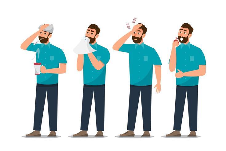 Reihe von kranken Menschen, die sich unwohl fühlen, Erkältung, Kopfschmerzen und Fieber haben vektor