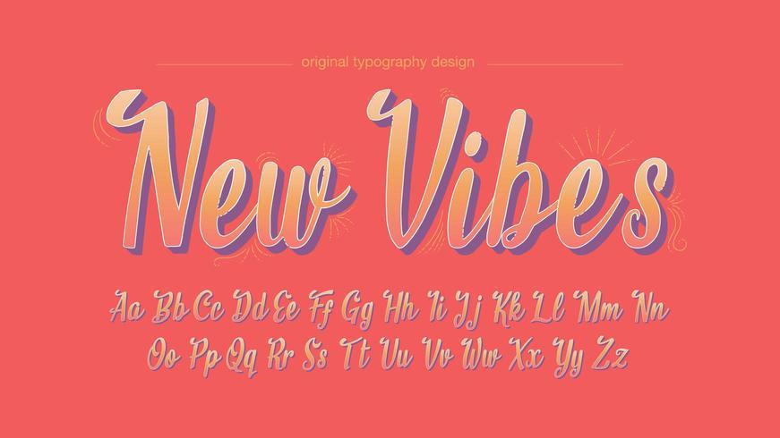 Färgglada handskrivna vintage konstnärliga teckensnitt vektor