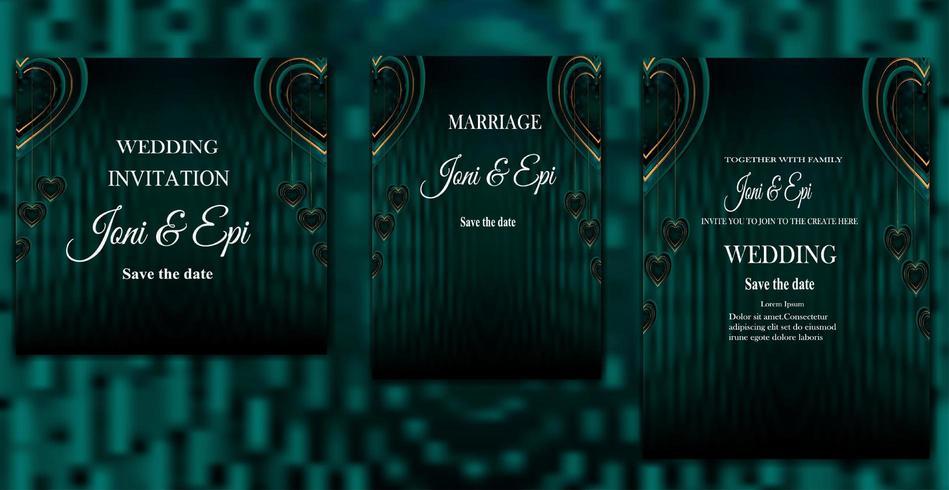bröllopsinbjudan etikett-kort-design speciella alla hjärtans dag med realistisk kärlek vektor