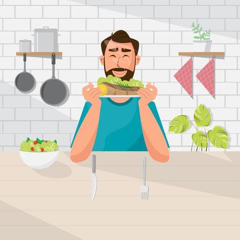 Mannen äter sallad och biff vektor