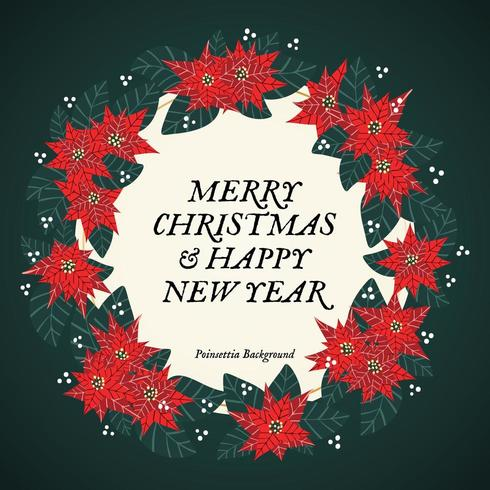 God jul och lyckligt nytt år julstjärnakrans vektor
