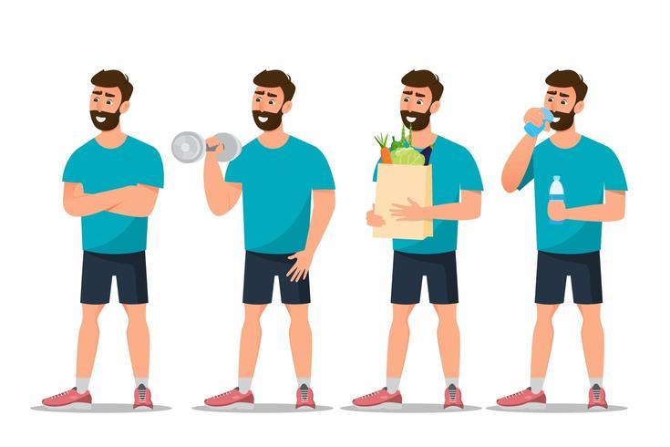 Satz der Mannübung in der Turnhalle und im Essen gesund vektor