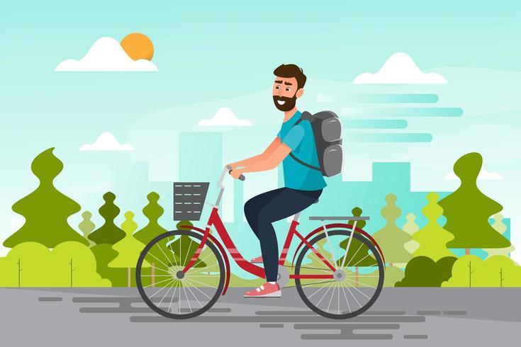 Mann mit dem Fahrrad ins Büro, langsames Leben auf dem Weg vektor