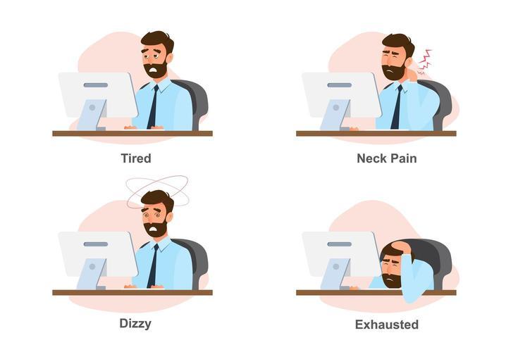 affärsman skada från hårt arbete vektor
