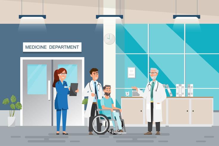 Medizinisches Konzept mit Doktor und Patienten in der flachen Karikatur an der Krankenhaushalle vektor