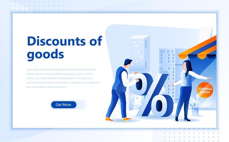 Rabatter på god platt webbdesign vektor