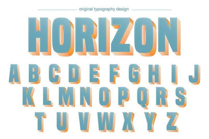 Hellblaue mutige Schatten-Alphabet-Typografie vektor