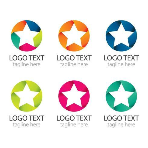 Färgglada Star Logo Collection vektor