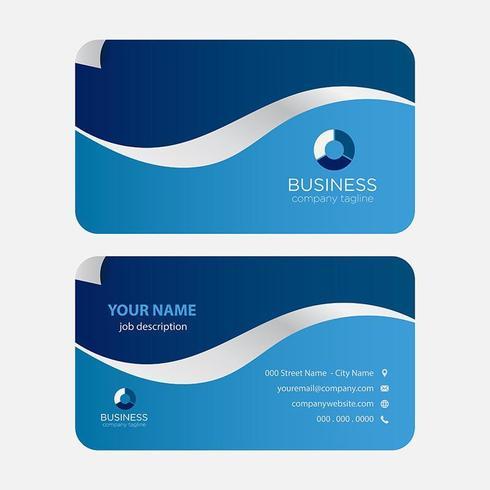 Blå vågor moderna färgglada visitkort vektor