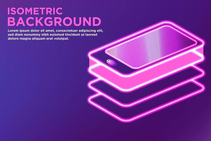 Enkel glödande isometrisk smart telefonbakgrund vektor
