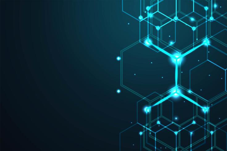 Abstrakt hexagonbakgrund för digitala linjer vektor