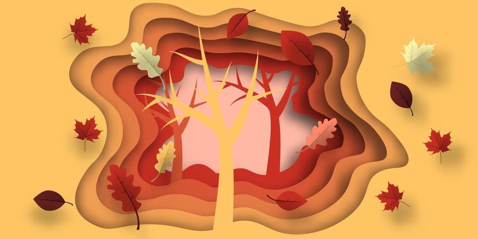 Höstklippt papper med blad och träddesigner vektor