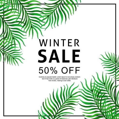 Tropisk försäljningsbakgrund för akvarell vektor