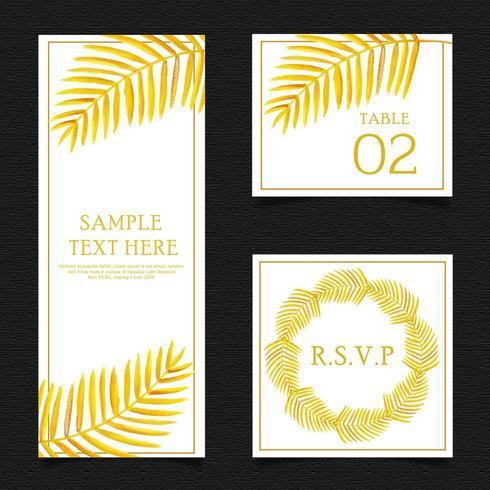Goldenes Blatt-Briefpapier-Set vektor