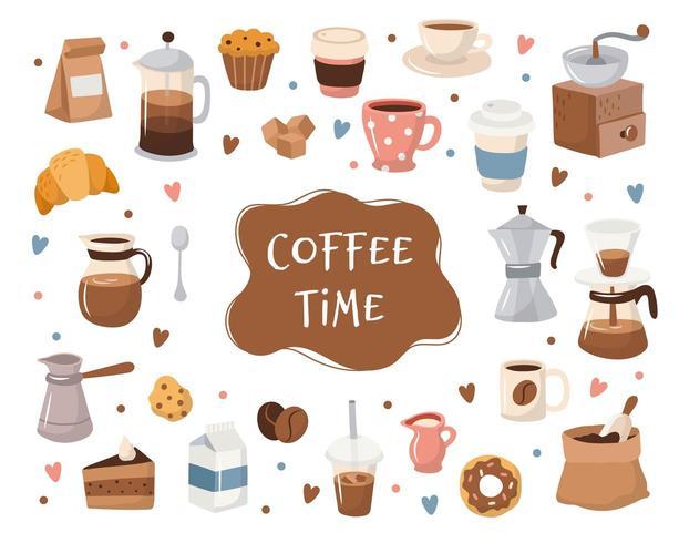 Kaffesamling, olika kaffelement med bokstäver. vektor