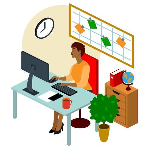 Isometrisk illustration för kontorsarbetare. Vacker ung karaktär fungerar. vektor