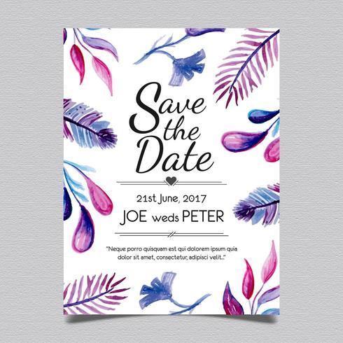 Bröllopskort blad stil vektor