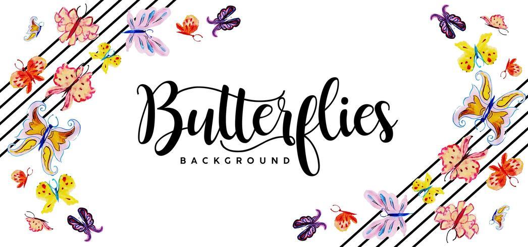 Vacker akvarell fjärilar bakgrund vektor