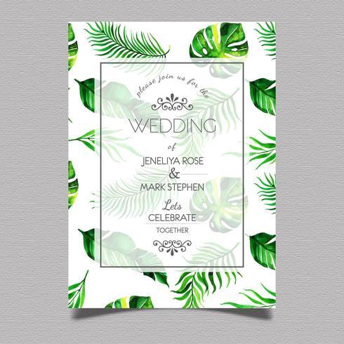 Tropiskt bröllopinbjudankort vektor