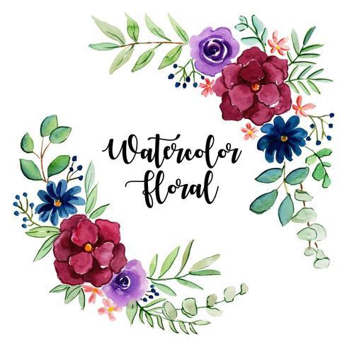 Akvarell blom- och lövsamling vektor