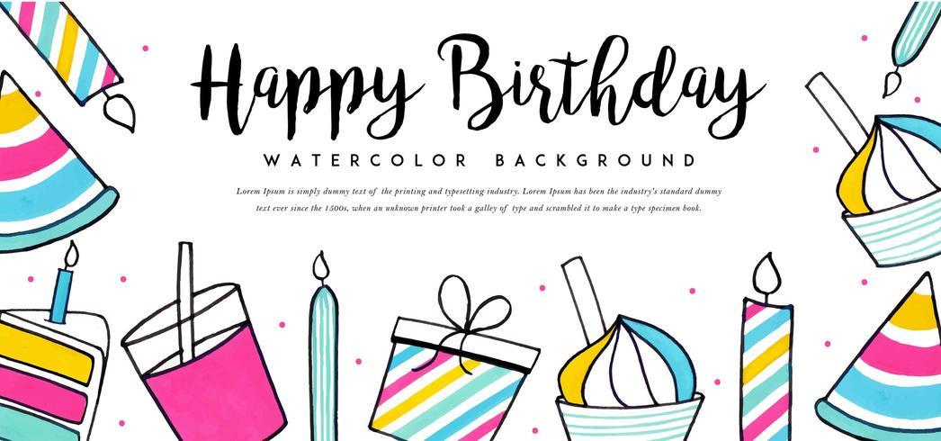 Akvarell födelsedag bakgrund vektor
