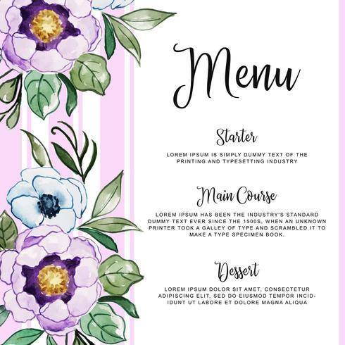 Blommig bröllopinbjudan för akvarell vektor