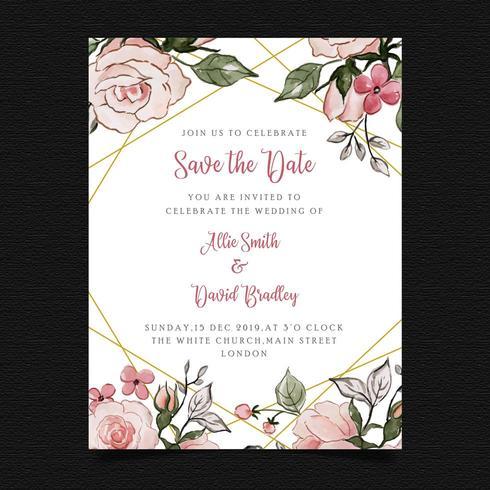 Spara datumet Blommigt bröllopinbjudan vektor