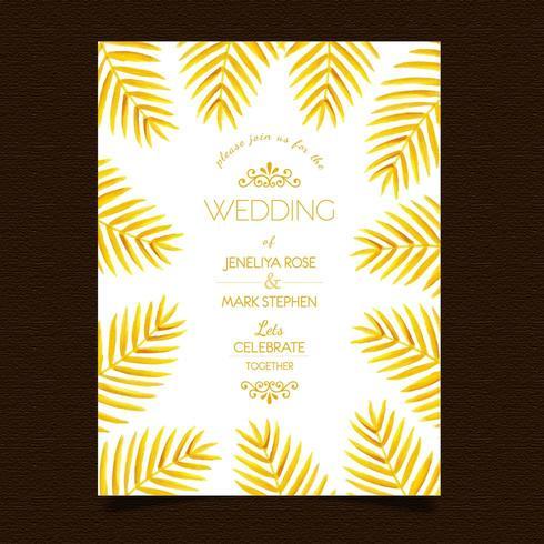 Guld- blad bröllopinbjudan vektor