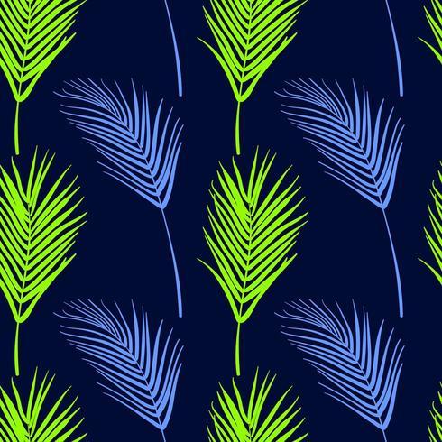 Sömlös tropisk mönster. Sommar exotiska växter prydnad. vektor