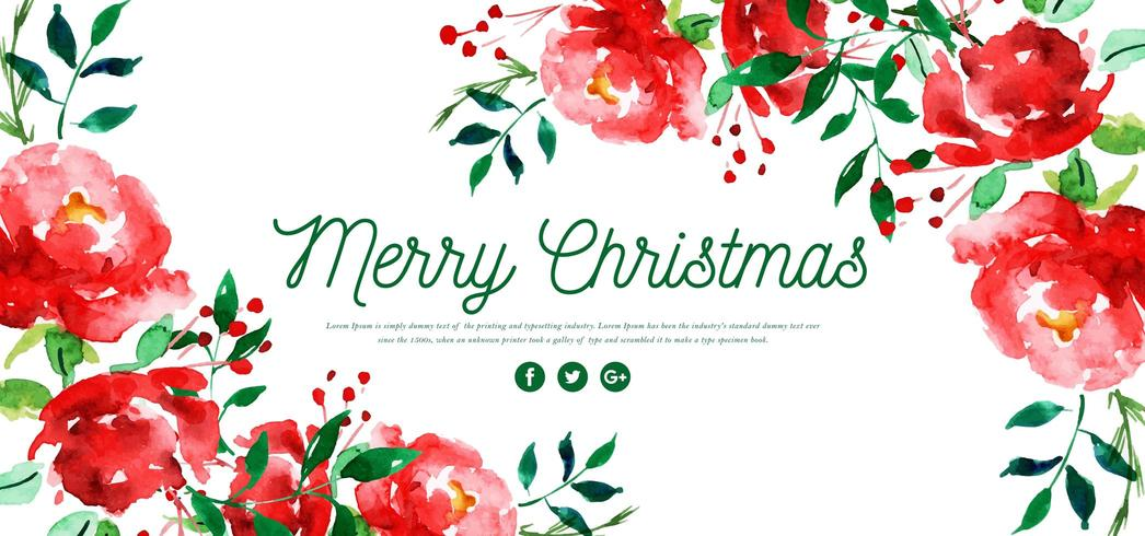 Akvarell Blommig Merry Christmas Banner vektor